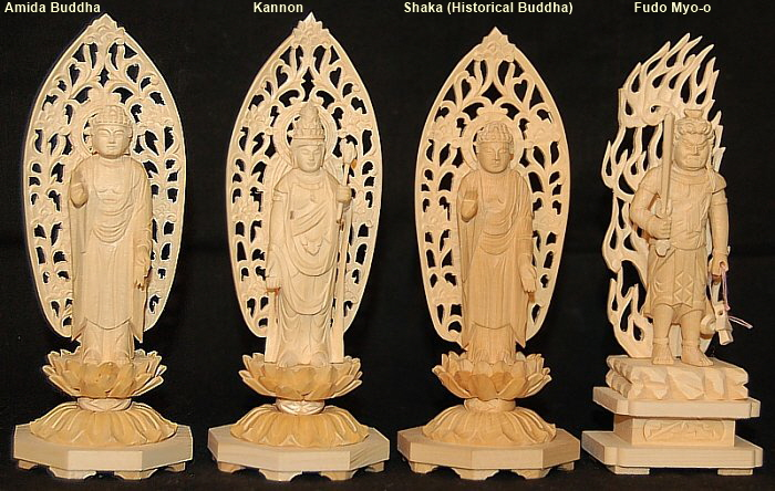 Statues that Fit Inside the Midsize Zushi (Tabernacle); Amida, Kannon, Shaka, and Fudo