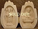 1000-Armed Kannon & Shaka (Historical Buddha), Praying Hands Wooden Statue