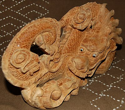 Wood Dragon-and-Cloud Panel