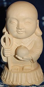 Mizuko Jizo Statue from Japan, Boxwood Carving