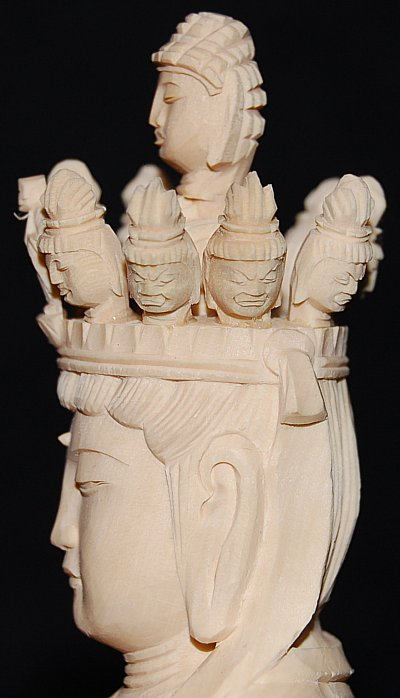 Large 11-Headed Kannon, Boxwood Statue from Japan