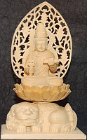 Large Statue of Monju Bodhisattva (Bostsu) Sitting Atop Shihi, Wood.