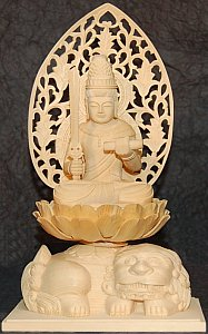 Learn more or purchase statue of Monju sitting atop lion (shishi)