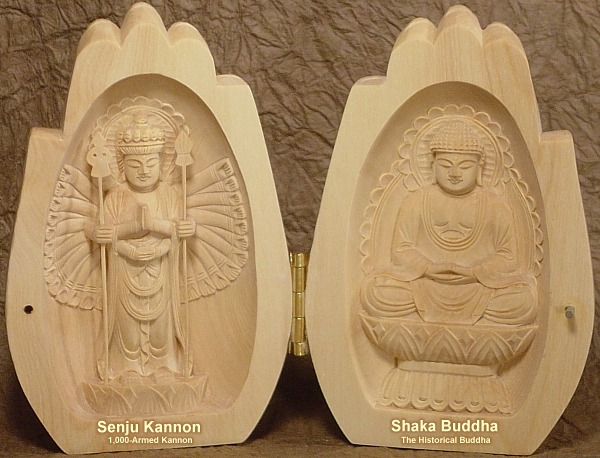 Senju Kannon (1000 Armed Kannon) and Shaka Buddha, the Historical Buddha -- Praying Hands Amulet